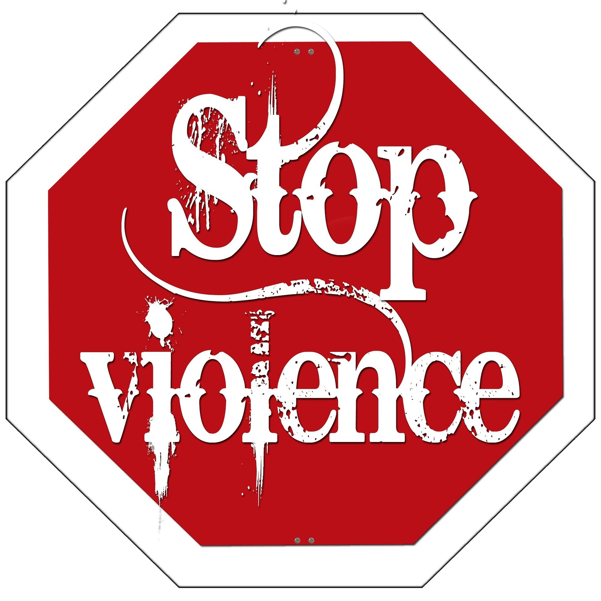 "stop sign that says ""stop violence"""