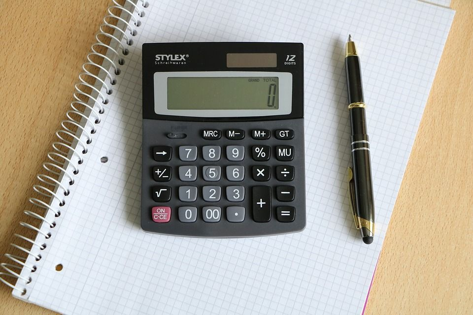 Calculator, pen, and paper