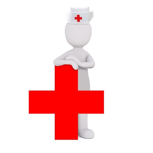 Animated nurse and health sign