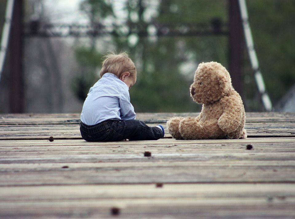 kid and teddy bear on bridge